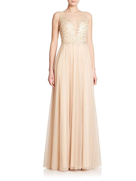 black beaded gown basix black label beaded illusion gown in metallic lyst