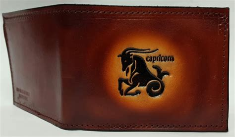 Handmade Leather Wallets Usa - capricorn embossed bifold leather wallet leather belts usa