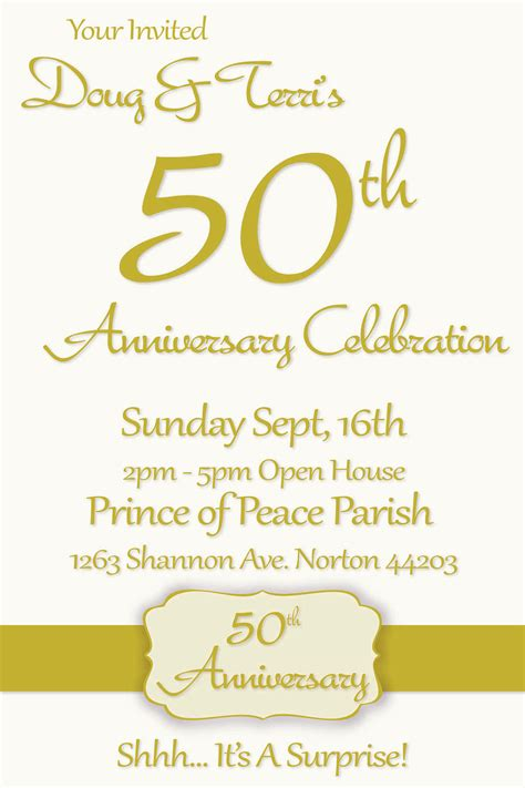 50th wedding anniversary card templates 50th wedding anniversary invitations templates