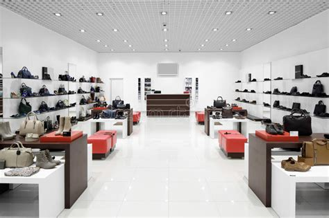 interior of shoe store in modern european mall stock image