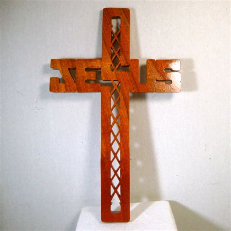 Handmade Wall Crosses - jesus wood wall cross 1960s handmade he has risen