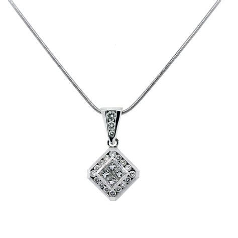 18k white gold princess cut square pendant necklace