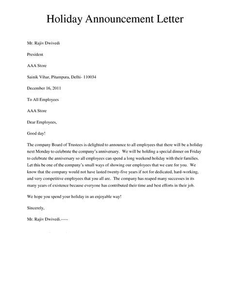 Make An Announcement Letter