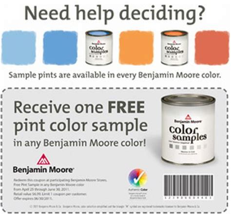 benjamin color free pint of paint color sle exp june 30 2011 canada