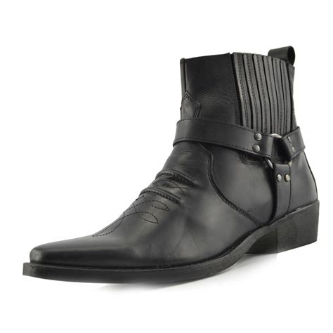 pointed toe mens boots mens leather cowboy biker ankle boots pointed toe western