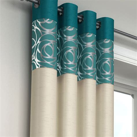 cream teal curtains skye faux silk teal eyelet curtains eyelet curtains
