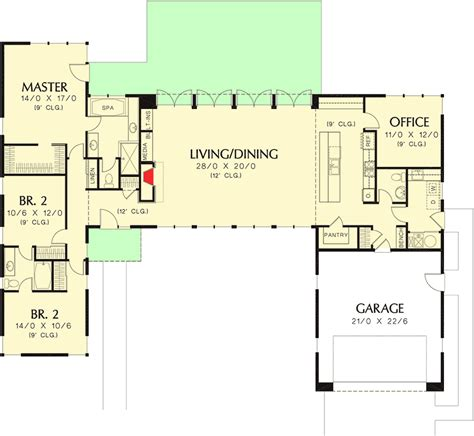open concept floor plan 3 bed modern house plan with open concept layout 69619am