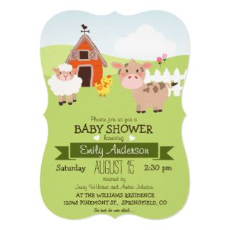 baby animals baby shower theme farm animal baby shower invitations announcements zazzle