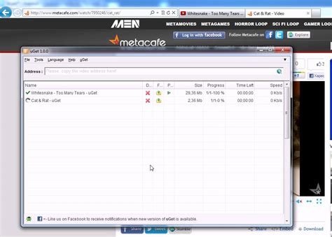 download youtube with uget how to use uget and download clips from youtube metacafe