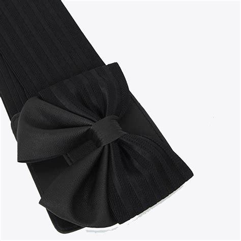 Bowknot Elastic Waist Belt Black black faux leather bowknot elastic wide waistband