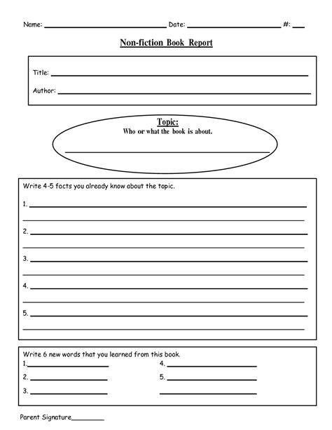 fifth grade book reports free printable book report templates non fiction book