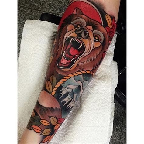 american traditional bear tattoo neo traditional by johnny domus johnnydomus