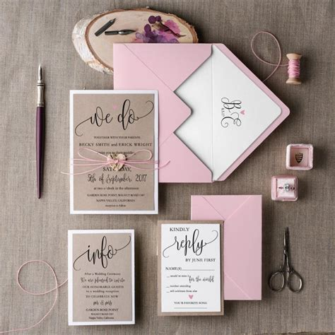 Pink Invitations Wedding by Rustic Wedding Invitation Set 20 Wedding Invitation