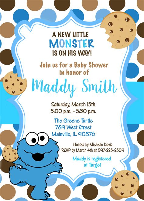 Cookie Baby Shower Invitations by Cookie Sesame Baby Shower Invitation Digital