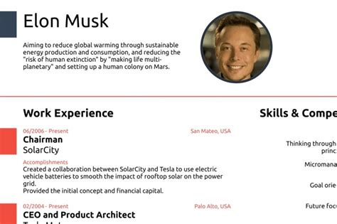 elon musk one page resume elon musk proves you never need a cv longer than one page