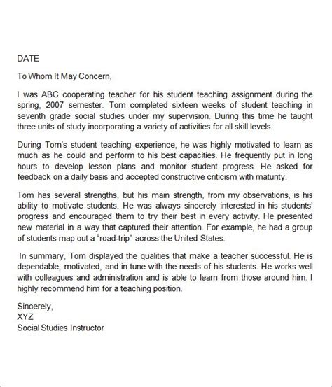 Character Education Letter To Parents sle letter of recommendation for help school and