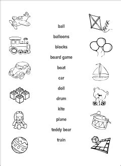toys vocabulary for kids learning english printable
