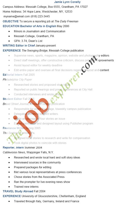 Entry Level Resume Example by Journalism Resume Example Sample Journalism Resume Template