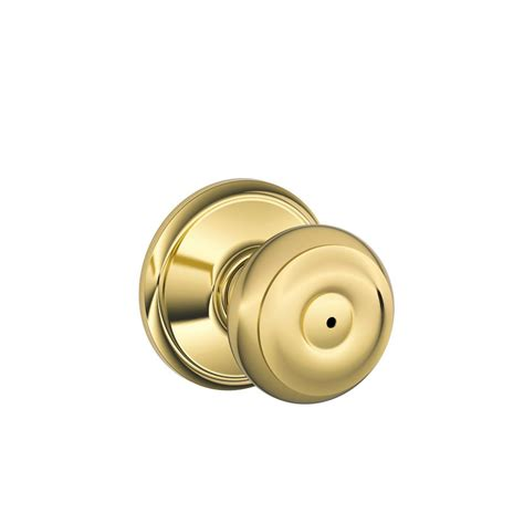 Door Knobs Schlage by Schlage Georgian Bright Brass Privacy Door Knob F40 Geo 605 The Home Depot