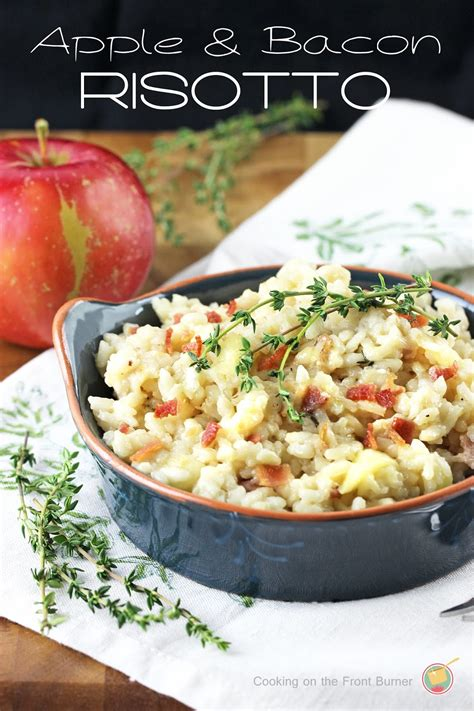 apple risotto apple bacon and thyme risotto cooking on the front burner
