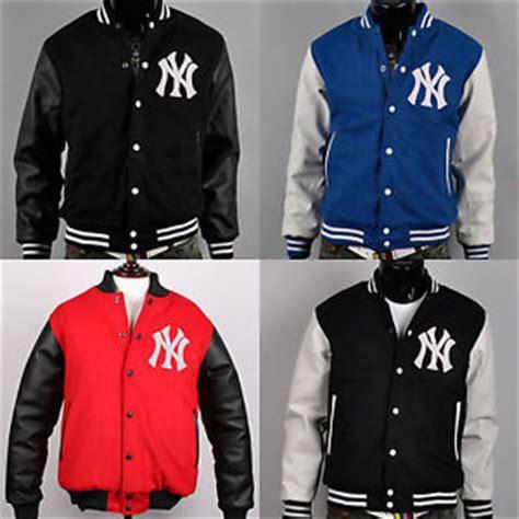 Jaket Varsity Baseball Navy White Gj44 au new york yankees custom logo baseball letterman varsity wool leather jackets ebay