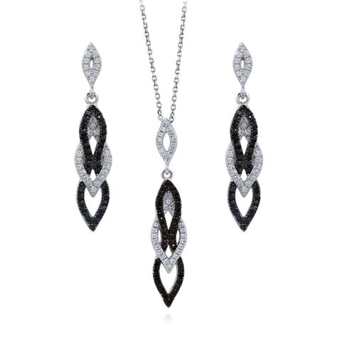 sterling silver cubic zirconia cz black and white fashion