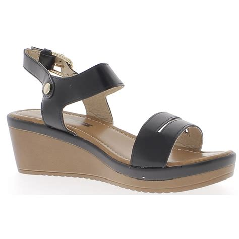 Wedges Lingkaran 3cm black wedge sandals heel of 6cm and 3cm thick soles chaussmoi