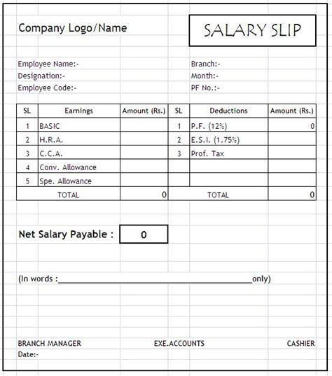 blank payslip template free blank salary slip template template with