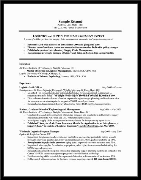 supply chain resume format 28 images resume sle 17