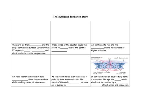 hurricane worksheet answers formations of hurricanes by geg60130 teaching resources tes