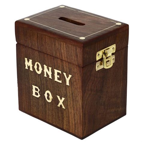 Coin Saving Box handcrafted wooden money box safe piggy bank for