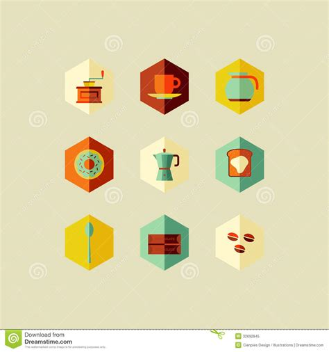icon design concept coffee concept flat icons design royalty free stock photo