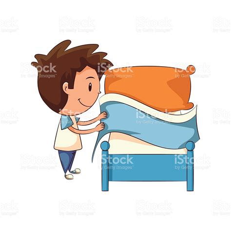 make bed child making bed stock vector art 543193580 istock