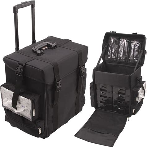 Hair Stylist Travel On Wheels by Cosmetic Black Soft Sided Professional 4 Wheels Rolling
