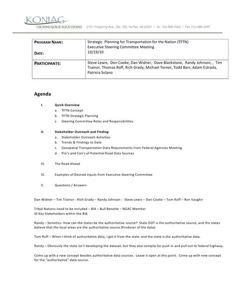 Agenda Executive Steering Committee Notes Steering Committee Presentation Template