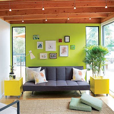 Bright Green Living Room Modern Cottage Idea House Living Room Cabin Decorating
