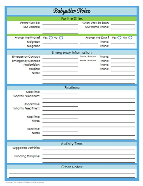 printable daily schedule babysitter 31 days of home management binder printables day 21