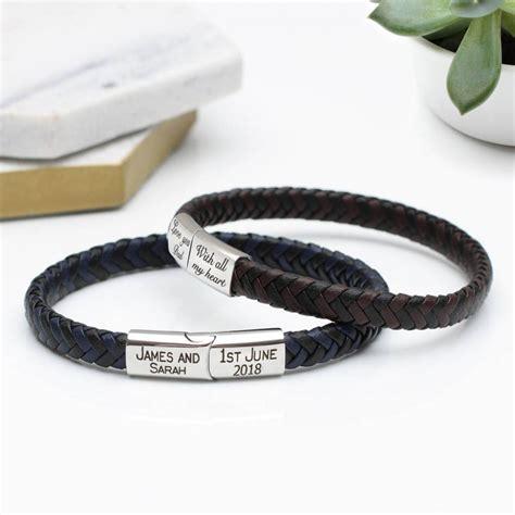 mens personalised brown leather bracelet personalised mens contrast leather bracelet hurleyburley