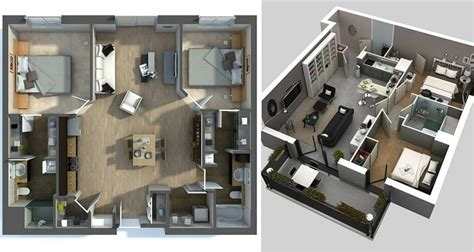 2828 house floor plan 3d 20 awesome 3d apartment plans with two bedrooms part 2