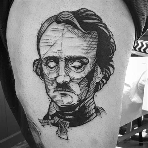 edgar allan poe tattoo dynamic character sketches in ink with cutty