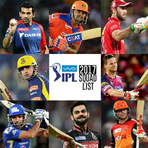 ipl 2017 team players vivo ipl 2017 list of players in 8 team squads for season