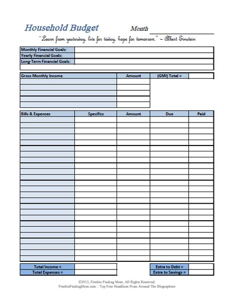 house budget template free free printable budget worksheets