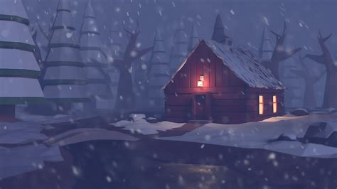 winter cabin winter cabin in the woods low poly by peterpan