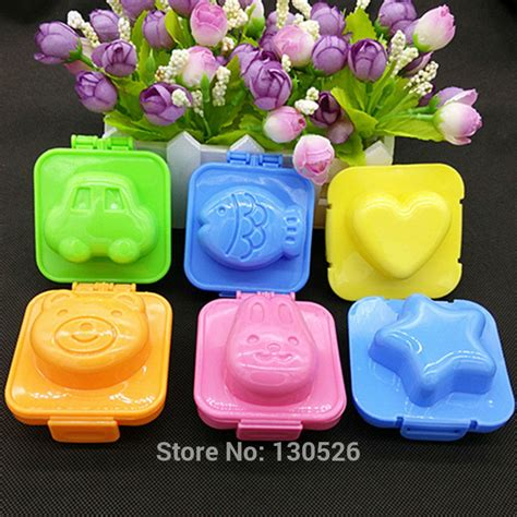 Egg Mold Rice Mold Bentuk Car Fish 6pcs colorful rice mold plastic fish car shape