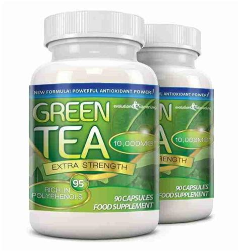 Label Detox Tea Coffee Weight Loss Antioxidant by Green Tea Capsules 10 000mg With 95 Polyphenols Green