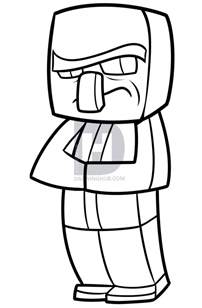 Minecraft Character Drawing Template by How To Draw A Minecraft Villager Step By Step