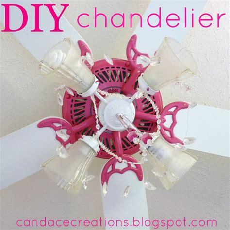 diy old ceiling fan into cute girly chandelier fan if