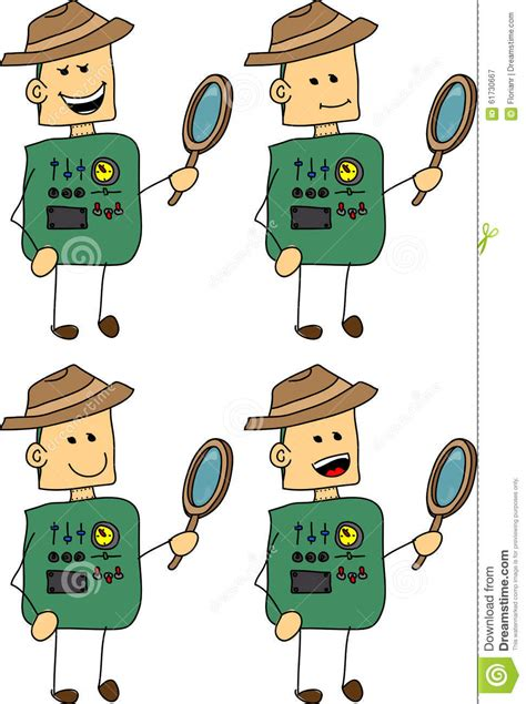 android layout vector set of doodle happy detective robot android stock vector