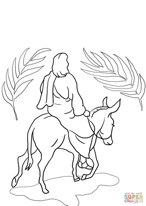 jesus riding on a donkey coloring page free printable