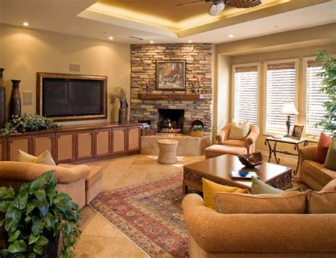 Country Living Room Decor Corner Fireplace Family Room Photos Home Decorating Ideas